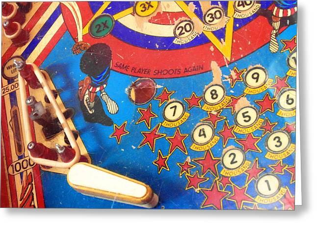 Harlem Globetrotters Greeting Cards - Vintage Pinball Machine Greeting Card by Ian Scholan