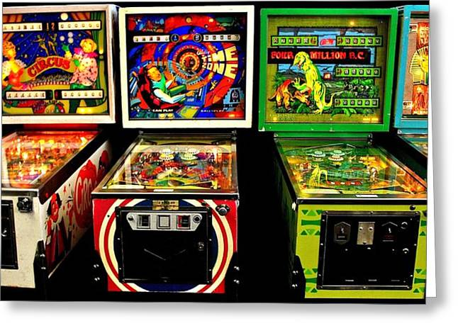 80s Greeting Cards - Vintage Pinball Panorama Greeting Card by Benjamin Yeager