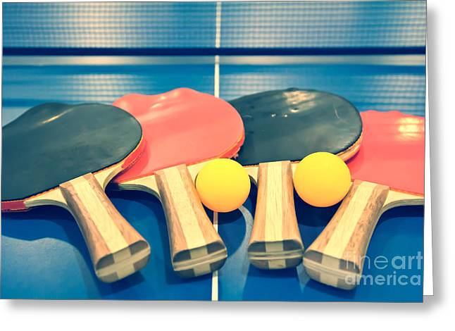 Table Tennis Racket Greeting Cards - Vintage Ping-pong Bats Table Tennis Paddles Rackets Greeting Card by Beverly Claire Kaiya