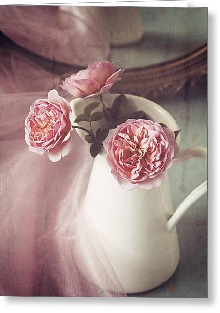 Vintage Pink Greeting Card by Amy Weiss