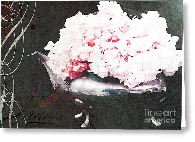 Pink Flower Prints Mixed Media Greeting Cards - Vintage Pink Paris Hydranges Greeting Card by Anahi DeCanio for ArtyZen Home