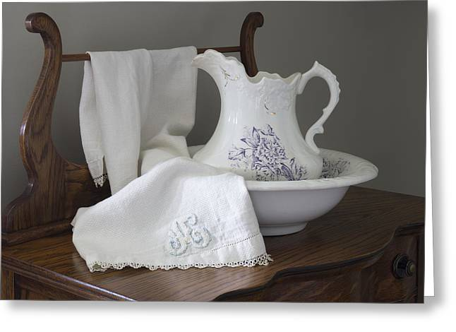 Old Pitcher Greeting Cards - Vintage Pitcher with Basin with Monogrammed Towel Greeting Card by MM Anderson