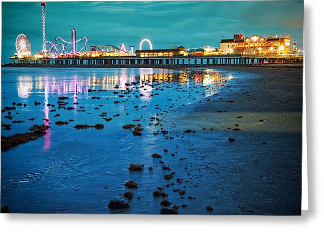 Vintage Pleasure Pier - Gulf Coast Galveston Texas Greeting Card by Silvio Ligutti