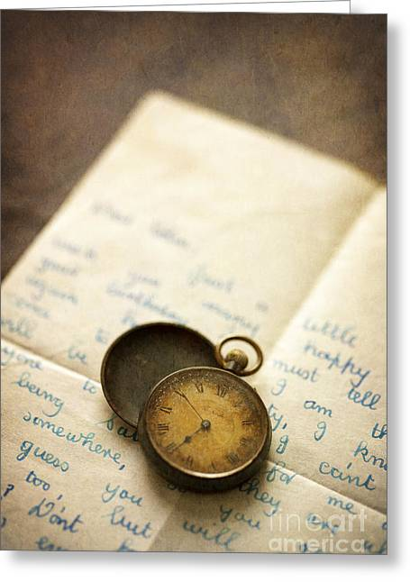 Metallic Sheets Greeting Cards - Vintage Pocket Watch And Letter Greeting Card by Lee Avison