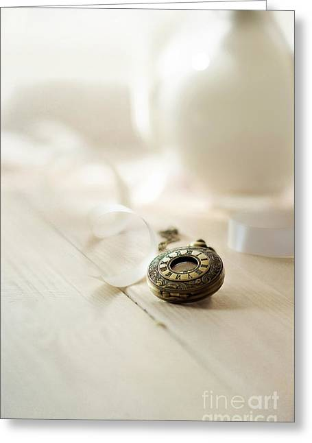 Glass Table Reflection Greeting Cards - Vintage pocket watch and the ribbon Greeting Card by Jaroslaw Blaminsky