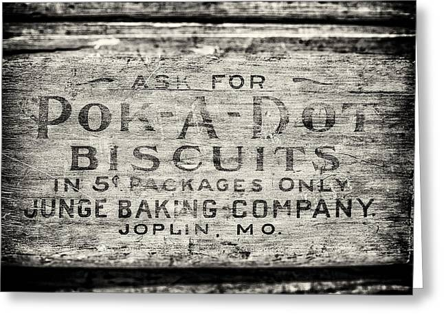 5 Cents Greeting Cards - Vintage Pok-a-Dot Biscuits Sign in Black and White for Kitchen Greeting Card by Lisa Russo