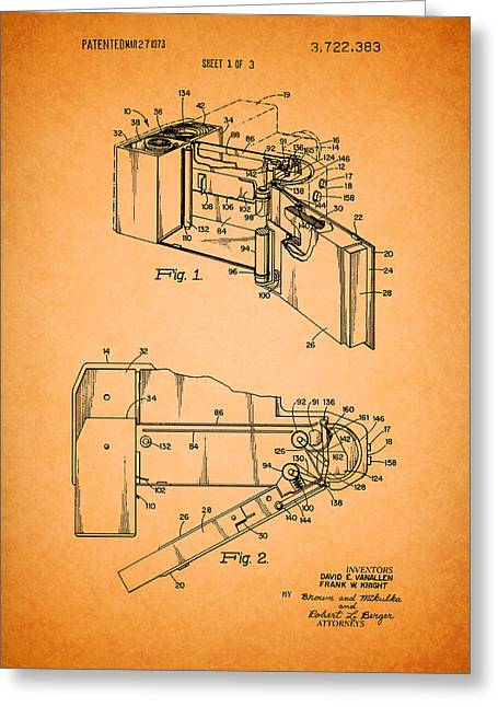 Instant Camera Greeting Cards - Vintage Polaroid Camera Patent 1973 Greeting Card by Mountain Dreams