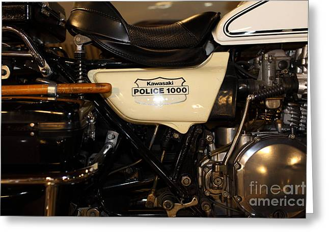 Police Motorcycles Greeting Cards - Vintage Police Motorcycle 5D25697 Greeting Card by Wingsdomain Art and Photography