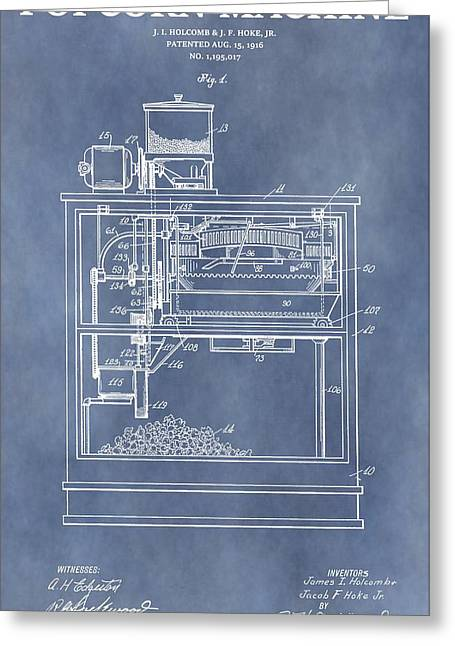 Vintage Popcorn Machine Patent Greeting Card by Dan Sproul