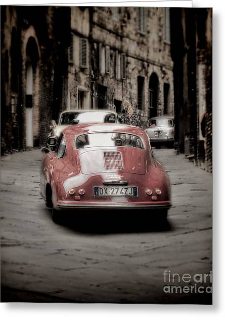 Sienna Greeting Cards - Vintage Porsche Greeting Card by Karen Lewis