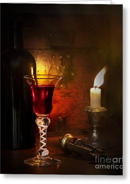 Candle Lit Greeting Cards - Vintage Port Greeting Card by Amanda And Christopher Elwell