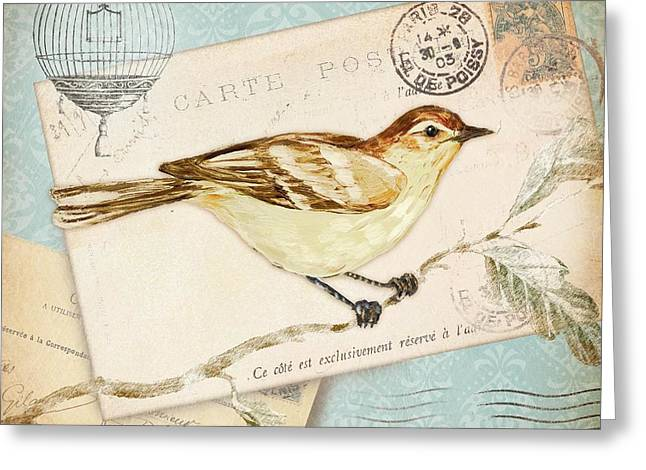 Bird Collage Greeting Cards - Vintage Postcard Bird Greeting Card by Paul Brent