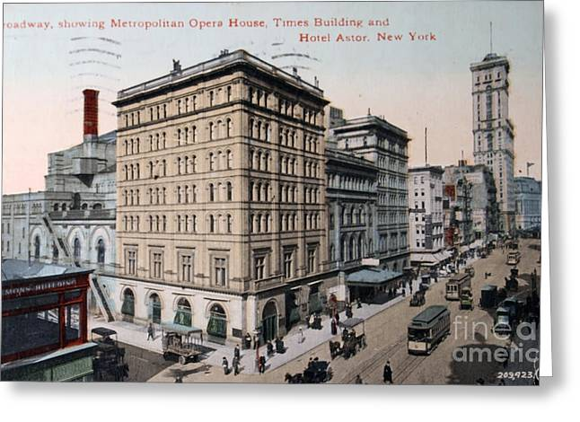 Old House Photographs Digital Greeting Cards - Vintage postcard of Broadway Greeting Card by Patricia Hofmeester