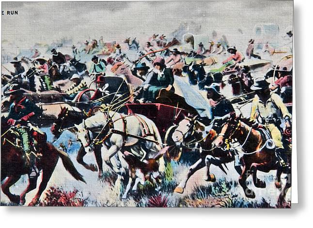 Reprint Greeting Cards - Vintage Postcard The Run Cowboys Greeting Card by Valerie Garner