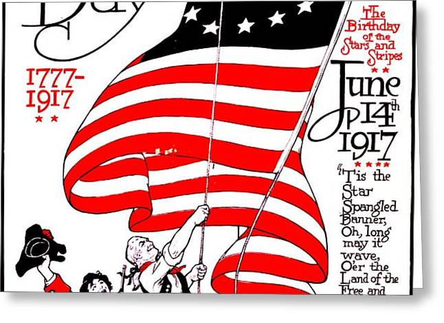 Vintage Poster - America - Flag Day 1917 Greeting Card by Benjamin Yeager