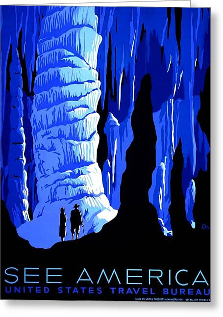 Cavern Greeting Cards - Vintage Poster - Carlsbad Caverns National Park Greeting Card by Benjamin Yeager