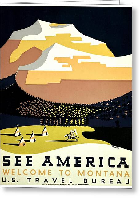 Vintage Poster - Montana Greeting Card by Benjamin Yeager