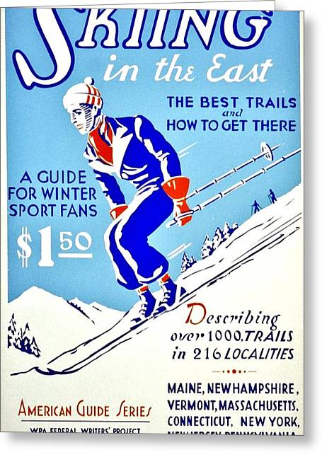 Skiing Poster Greeting Cards - Vintage Poster - Sports - Skiing Greeting Card by Benjamin Yeager