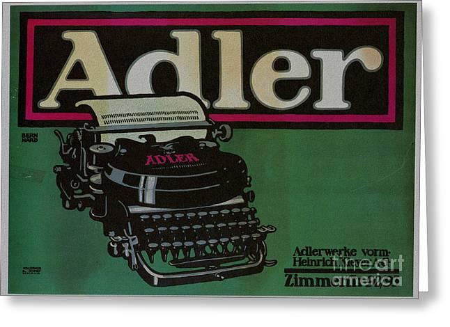 Typewriter Mixed Media Greeting Cards - Vintage poster Adler typewriters Greeting Card by R Muirhead Art
