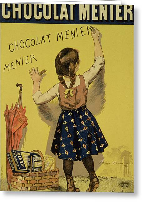 Umbrella Drawings Greeting Cards - Vintage Poster advertising Chocolate Greeting Card by Firmin Bouisset