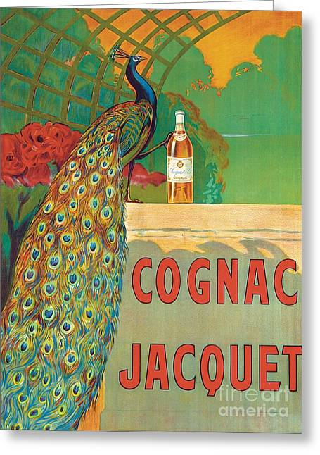 Plumed Greeting Cards - Vintage Poster Advertising Cognac Greeting Card by Camille Bouchet
