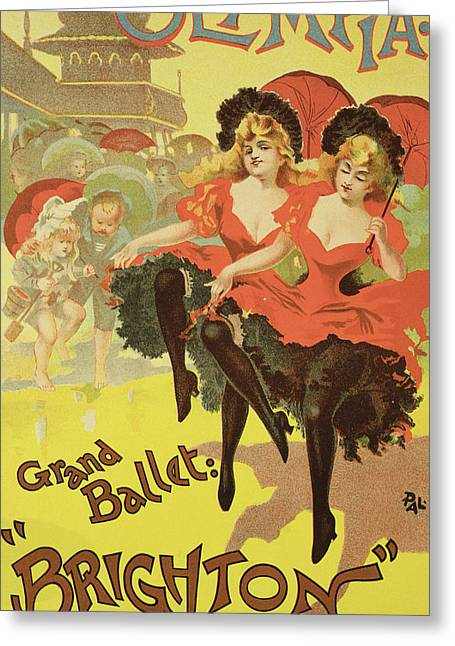 Ballet Dancers Drawings Greeting Cards - Vintage Poster   Brighton Greeting Card by Pal