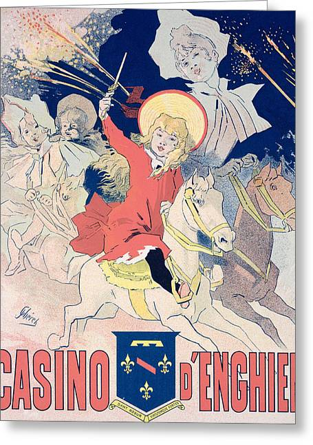 Fireworks Drawings Greeting Cards - Vintage Poster  Casino dEnghien Greeting Card by Jules Cheret