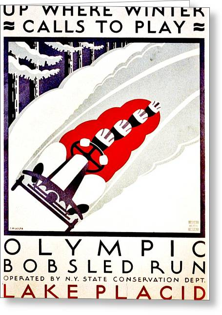 Winter Olympics Greeting Cards - Vintage Poster - Lake Placid Bobsled Greeting Card by Benjamin Yeager