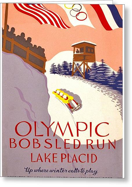 Winter Olympics Greeting Cards - Vintage Poster - Olympics - Lake Placid Bobsled Greeting Card by Benjamin Yeager