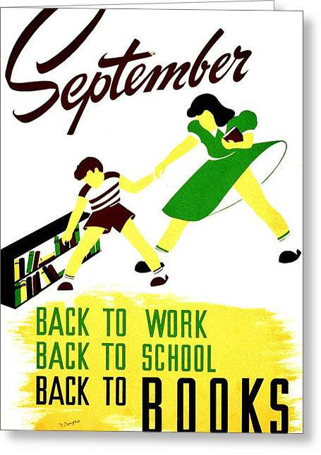 Schoolroom Greeting Cards - Vintage Poster - Reading - September Greeting Card by Benjamin Yeager