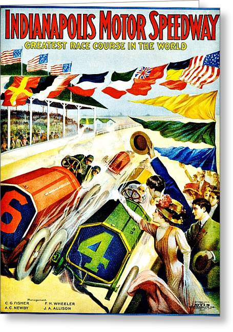 Indy Car Greeting Cards - Vintage Poster - Sports - Indy 500 Greeting Card by Benjamin Yeager