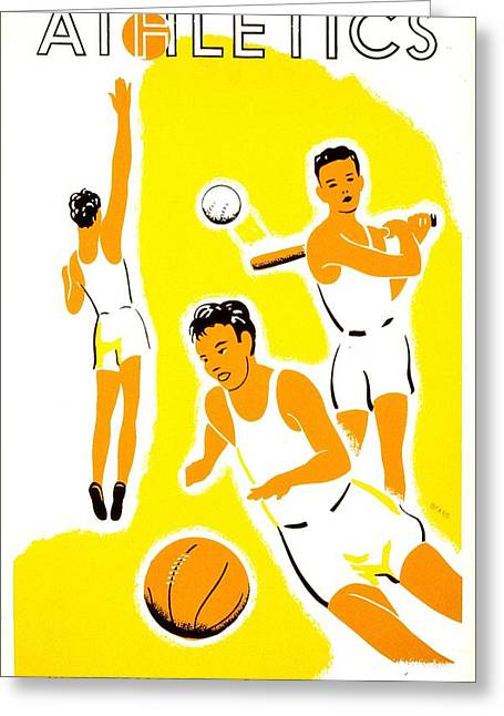 Franklin Roosevelt Greeting Cards - Vintage Poster - WPA - Athletics 1 Greeting Card by Benjamin Yeager