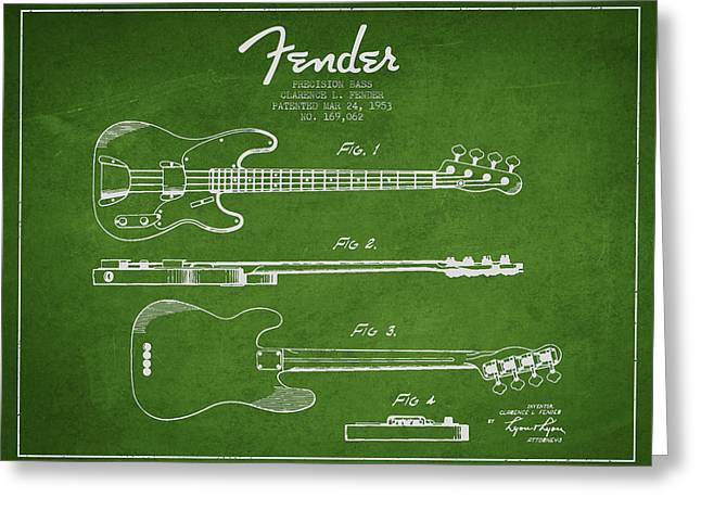 Bedroom Art Greeting Cards - Vintage Precision Bass Patent Drawing from 1953 Greeting Card by Aged Pixel