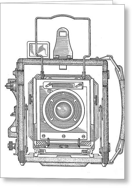 Camera Greeting Cards - Vintage Press Camera Patent Drawing Greeting Card by Edward Fielding