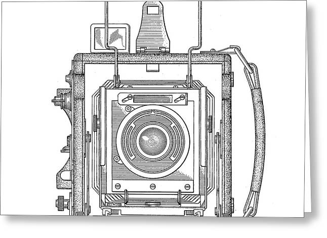 Draw Drawings Greeting Cards - Vintage Press Camera Patent Drawing Greeting Card by Edward Fielding