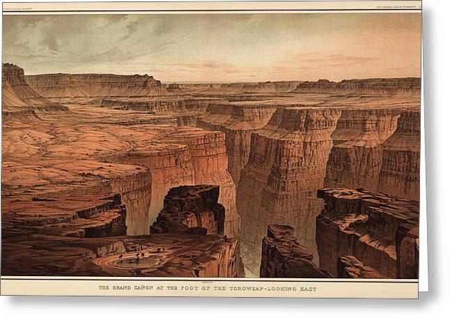 Henry Drawings Greeting Cards - Vintage Print of the Grand Canyon by William Henry Holmes - 1882 Greeting Card by Blue Monocle