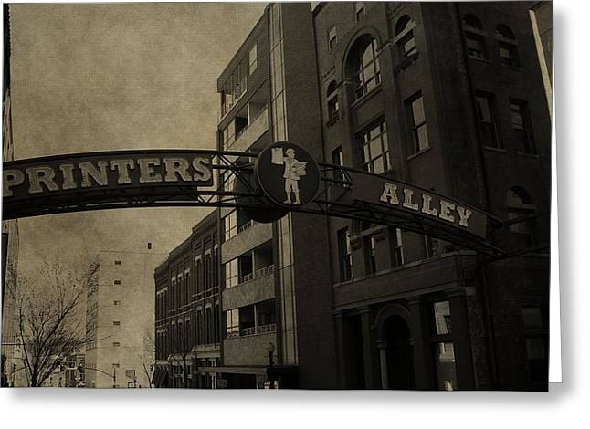 Historical Buildings Greeting Cards - Vintage Printers Alley Greeting Card by Dan Sproul
