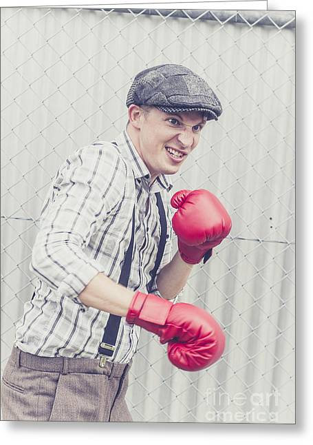 Fortitude Greeting Cards - Vintage prison yard boxer settling the score Greeting Card by Ryan Jorgensen