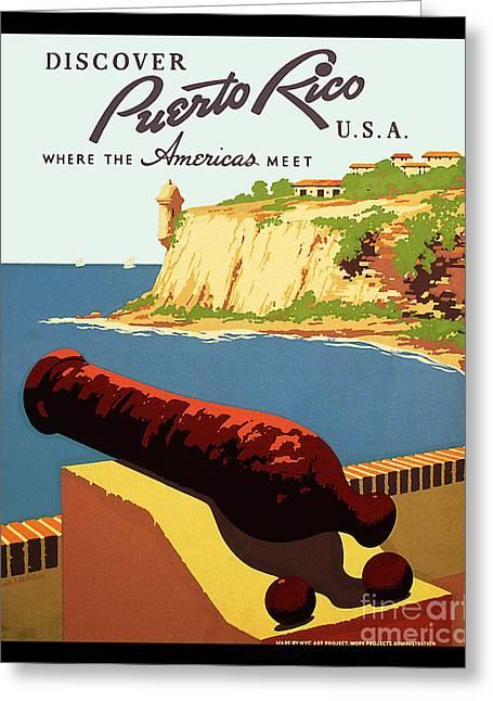 Vintage Puerto Rico Travel Poster Greeting Card by Jon Neidert