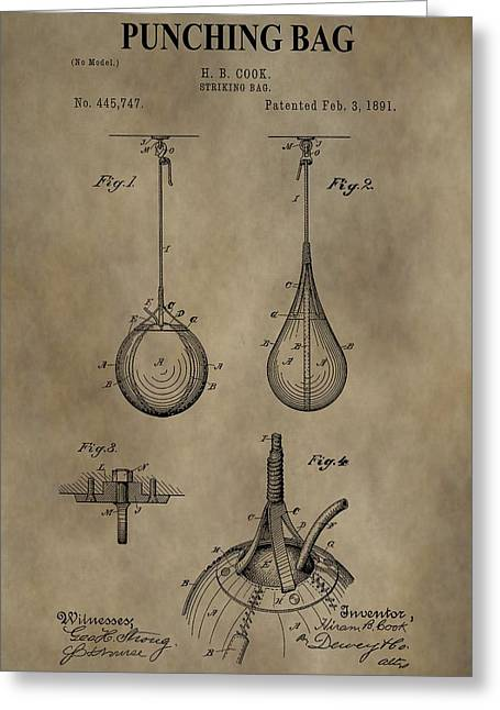 Punching Digital Greeting Cards - Vintage Punching Bag Patent Greeting Card by Dan Sproul