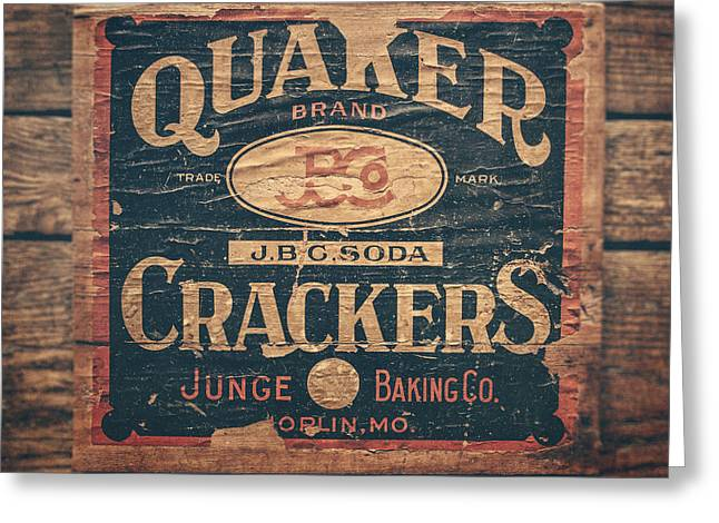Quaker Greeting Cards - Vintage Quaker Crackers for the Kitchen Greeting Card by Lisa Russo