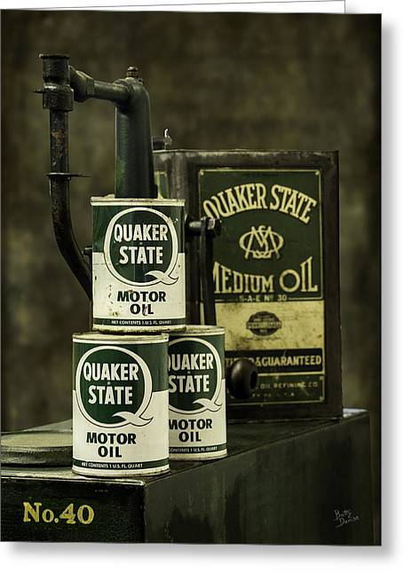 Quaker Greeting Cards - Vintage Quaker State Motor Oil Greeting Card by Betty Denise