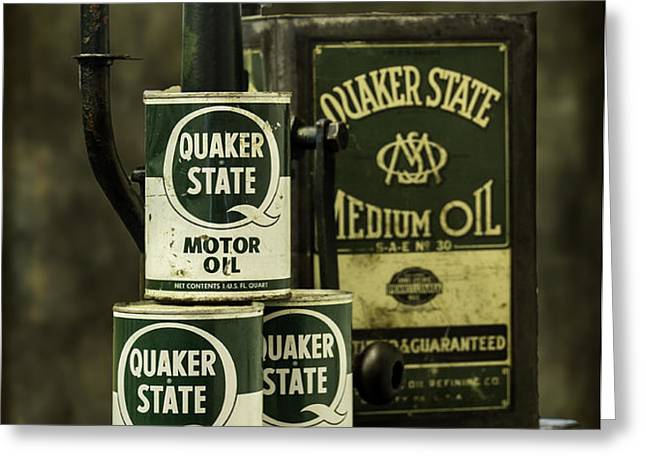 Vintage Quaker State Motor Oil Greeting Card by Betty Denise