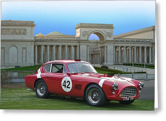 Oval Photographs Greeting Cards - Vintage Race Car No. 42 Greeting Card by Dave Koontz