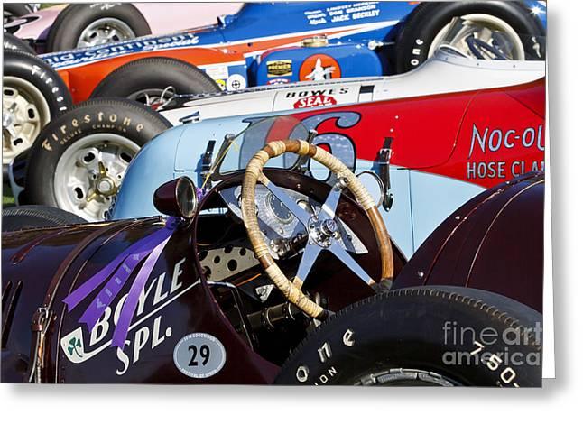 Boyle Greeting Cards - Vintage Racecars Greeting Card by Dennis Hedberg