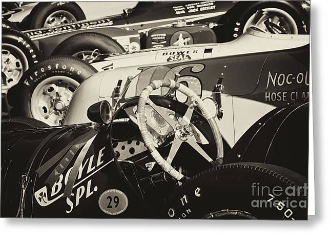 Boyle Greeting Cards - Vintage Racecars monochrome Greeting Card by Dennis Hedberg