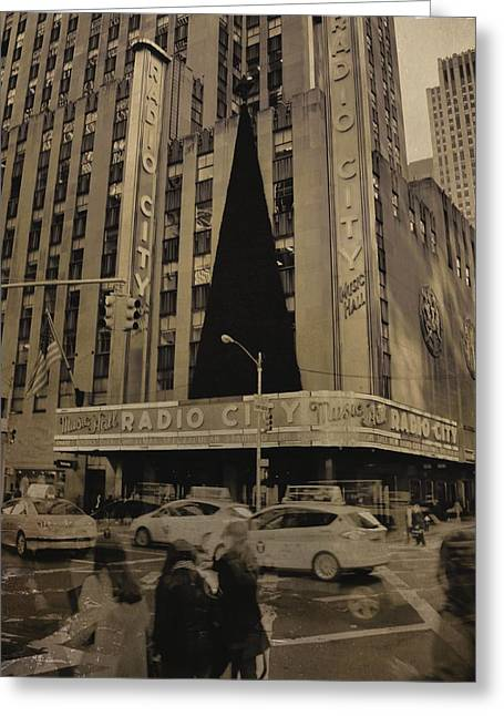 Center City Mixed Media Greeting Cards - Vintage Radio City Music Hall Greeting Card by Dan Sproul