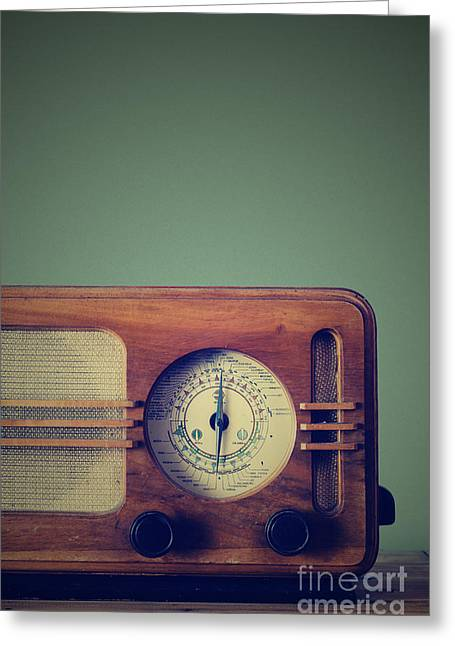Equipment Pyrography Greeting Cards - Vintage Radio Greeting Card by Jelena Jovanovic
