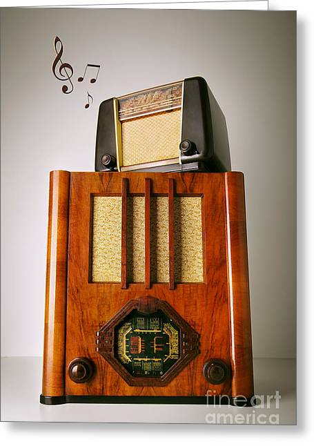 Vintage Radios Greeting Card by Carlos Caetano