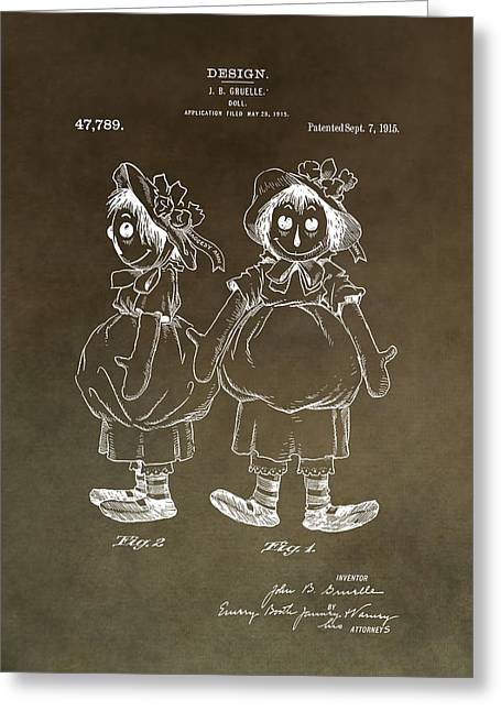 Child Toy Mixed Media Greeting Cards - Vintage Raggedy Ann Patent Greeting Card by Dan Sproul
